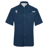 Columbia Tamiami Performance Navy Short Sleeve Shirt-Official Logo