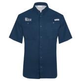 Columbia Tamiami Performance Navy Short Sleeve Shirt-Rice Wordmark