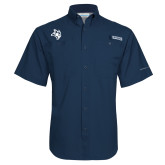 Columbia Tamiami Performance Navy Short Sleeve Shirt-Owl Head
