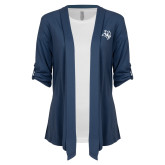 Ladies Navy Drape Front Cardigan-Owl Head