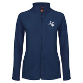 Ladies Fleece Full Zip Navy Jacket-Owl Head