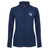 Ladies Fleece Full Zip Navy Jacket-Owl Head
