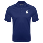 Navy Textured Saddle Shoulder Polo-R