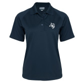 Ladies Navy Textured Saddle Shoulder Polo-Owl Head