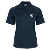 Ladies Navy Textured Saddle Shoulder Polo-R
