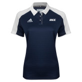 Ladies Adidas Modern Navy Varsity Polo-Rice