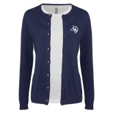 Ladies Navy Cardigan-Owl Head