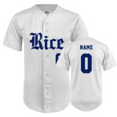 Replica White Adult Baseball Jersey-Personalized Rice