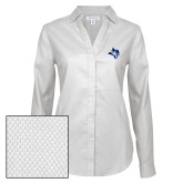 Ladies Red House Diamond Dobby White Long Sleeve Shirt-Owl Head