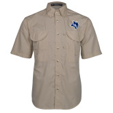 Khaki Short Sleeve Performance Fishing Shirt-Owl Head