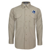 Khaki Long Sleeve Performance Fishing Shirt-Owl Head