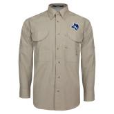 Khaki Long Sleeve Performance Fishing Shirt-Owl Head
