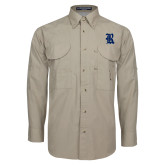 Khaki Long Sleeve Performance Fishing Shirt-R