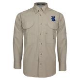 Khaki Long Sleeve Performance Fishing Shirt-R