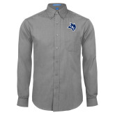 Mens Dark Charcoal Crosshatch Poplin Long Sleeve Shirt-Owl Head