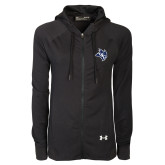 Ladies Under Armour Black Varsity Full Zip Hoodie-Owl Head