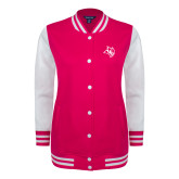 Ladies Pink Raspberry/White Fleece Letterman Jacket-Owl Head