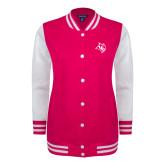 Ladies Pink Raspberry/White Fleece Letterman Jacket-Owl Head