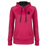 Ladies Pink Raspberry Tech Fleece Hoodie-R