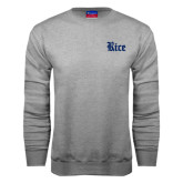 Grey Fleece Crew-Rice Wordmark