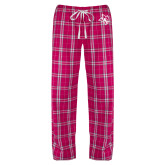 Ladies Dark Fuchsia/White Flannel Pajama Pant-Owl Head