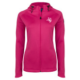 Ladies Tech Fleece Full Zip Hot Pink Hooded Jacket-Owl Head
