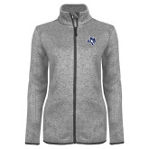 Grey Heather Ladies Fleece Jacket-Owl Head