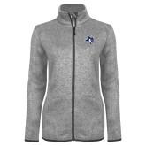 Grey Heather Ladies Fleece Jacket-Owl Head