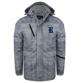 Grey Brushstroke Print Insulated Jacket-R
