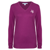 Ladies Deep Berry V Neck Sweater-Owl Head