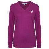 Ladies Deep Berry V Neck Sweater-Owl Head