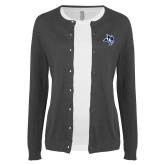 Ladies Charcoal Cardigan-Owl Head