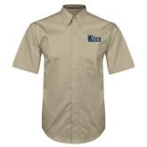 Khaki Twill Button Down Short Sleeve-Rice Wordmark