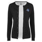 Ladies Black Cardigan-Owl Head