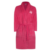Ladies Pink Raspberry Plush Microfleece Shawl Collar Robe-Owl Head