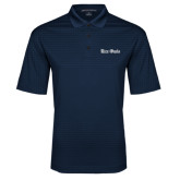 Navy Performance Fine Jacquard Polo-Rice Owls Wordmark