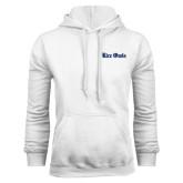 White Fleece Hood-Rice Owls Wordmark
