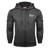 Charcoal Fleece Full Zip Hood-Rice Wordmark