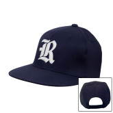 Navy Flat Bill Snapback Hat-R