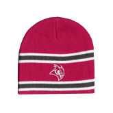 Pink/Charcoal/White Striped Knit Beanie-Owl Head