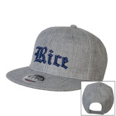 Heather Grey Wool Blend Flat Bill Snapback Hat-Rice Wordmark