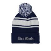 Navy/White Two Tone Knit Pom Beanie with Cuff-Rice Owls Wordmark