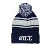 Navy/White Two Tone Knit Pom Beanie w/Cuff-Rice