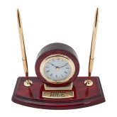 Executive Wood Clock and Pen Stand-Rice Engraved