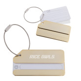 Gold Luggage Tag-Rice Owls Engraved