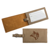 Ultra Suede Tan Luggage Tag-Owl Head Engraved
