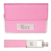 Business Card Case and Key Ring Set Pink-Rice Wordmark Engraved