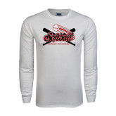 White Long Sleeve T Shirt-Softball Crossed Bats