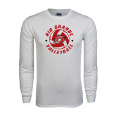White Long Sleeve T Shirt-Circular Volleyball