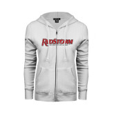 ENZA Ladies White Fleece Full Zip Hoodie-RedStorm